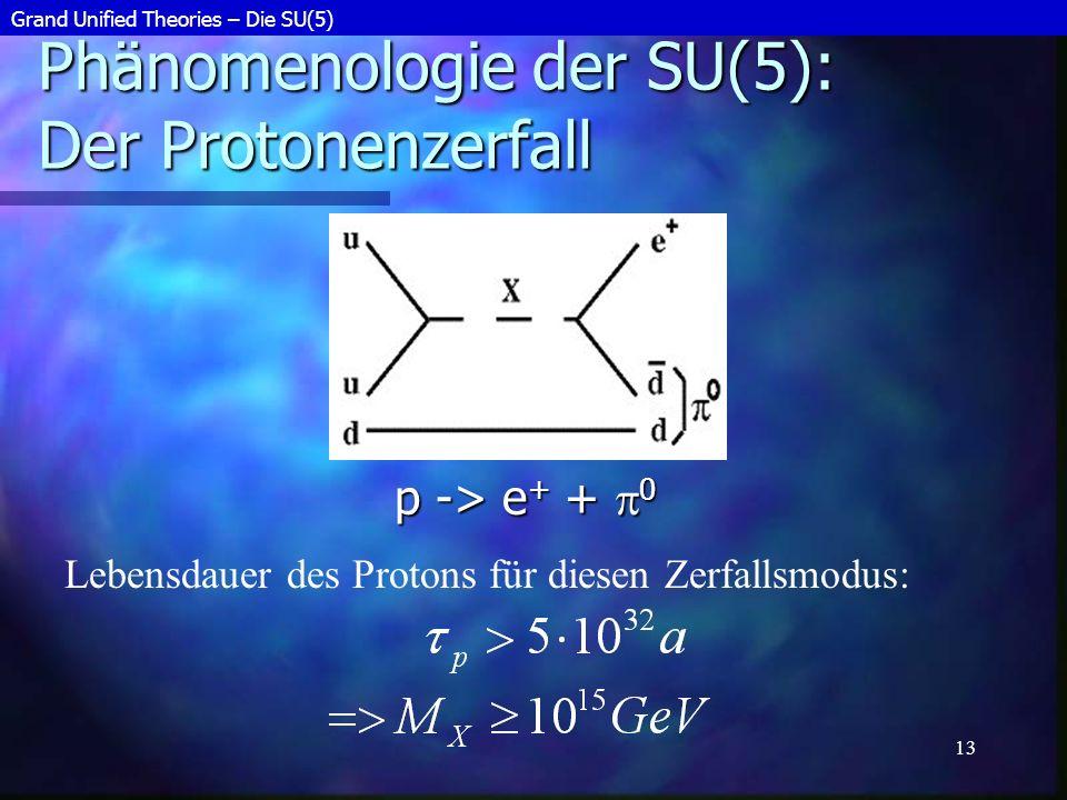 Phänomenologie der SU(5): Der Protonenzerfall
