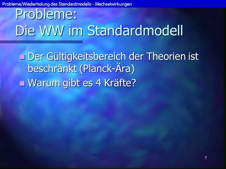 Probleme: Die WW im Standardmodell