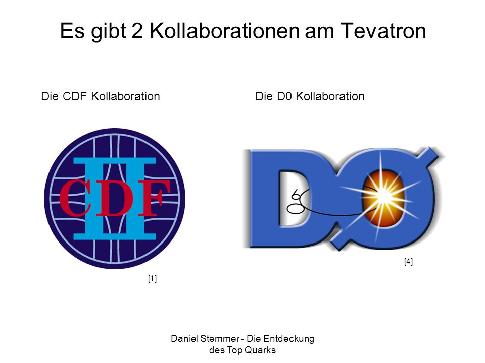 Es gibt 2 Kollaborationen am Tevatron