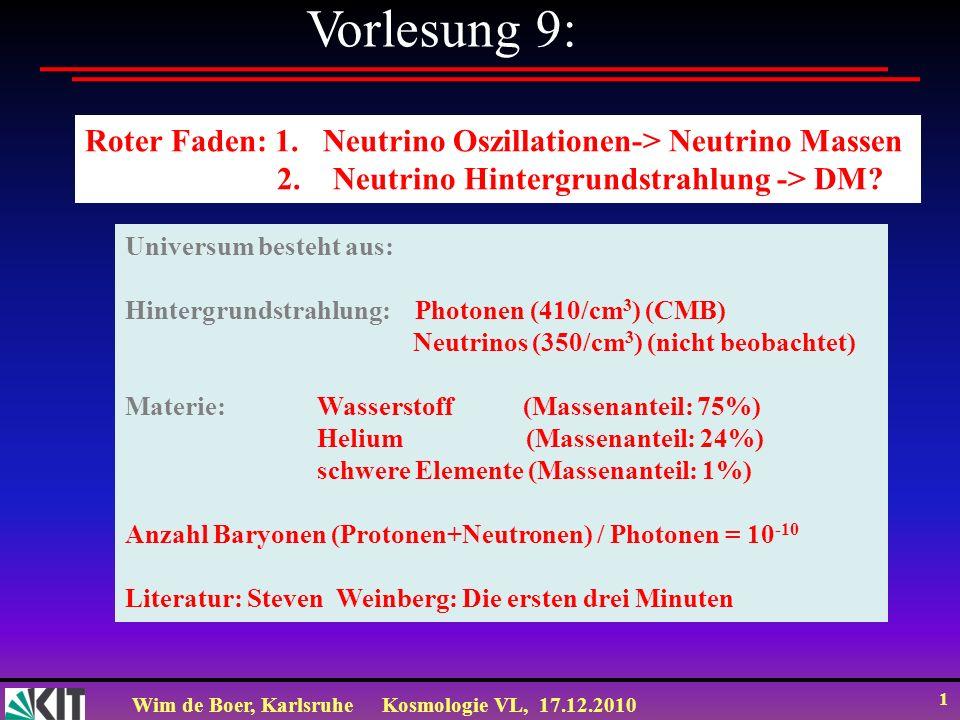 Vorlesung 9: Roter Faden: 1. Neutrino Oszillationen-> Neutrino Massen. 2. Neutrino Hintergrundstrahlung -> DM