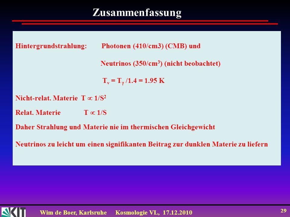 Zusammenfassung Hintergrundstrahlung: Photonen (410/cm3) (CMB) und