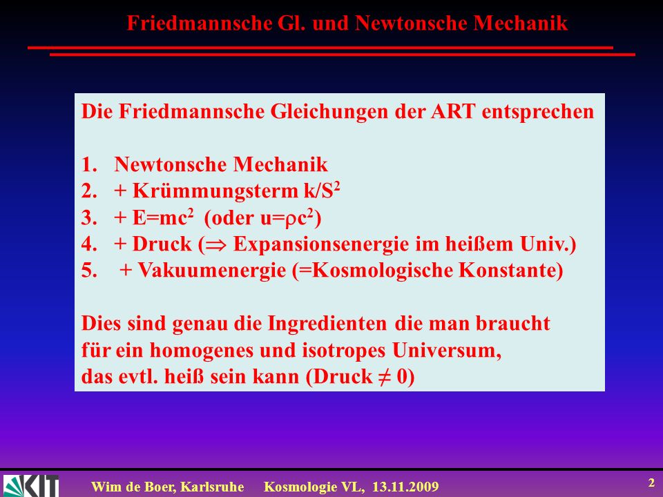 Friedmannsche Gl. und Newtonsche Mechanik