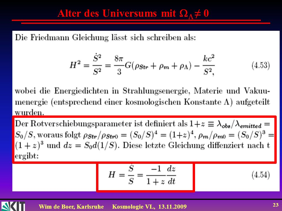 Alter des Universums mit  ≠ 0