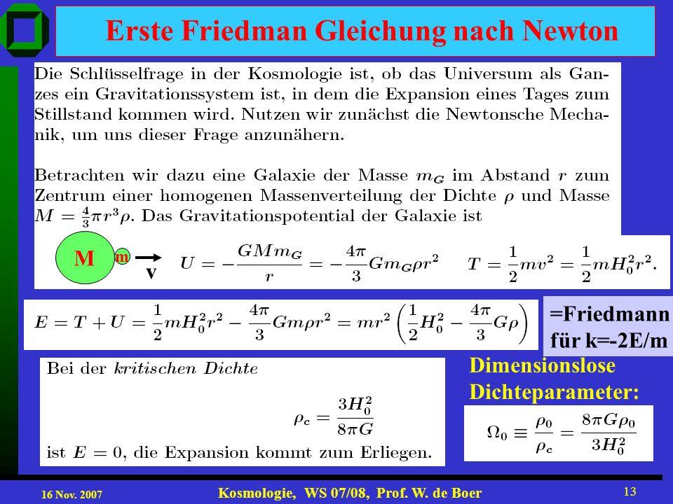 Erste Friedman Gleichung nach Newton