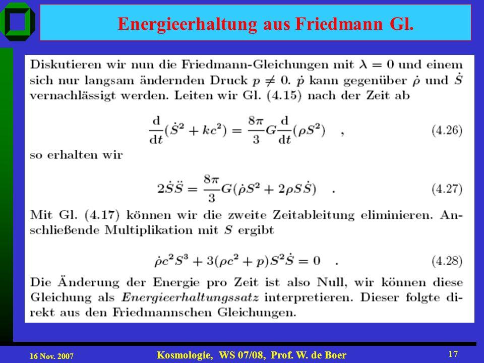 Energieerhaltung aus Friedmann Gl.