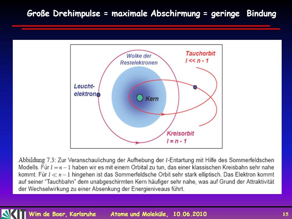 Große Drehimpulse = maximale Abschirmung = geringe Bindung