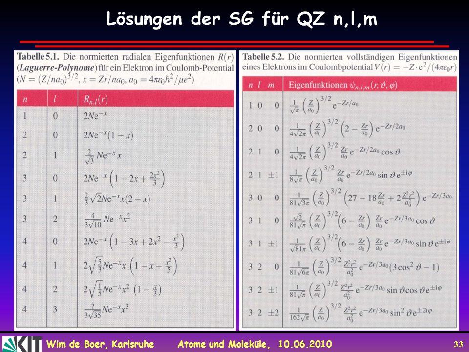 Lösungen der SG für QZ n,l,m
