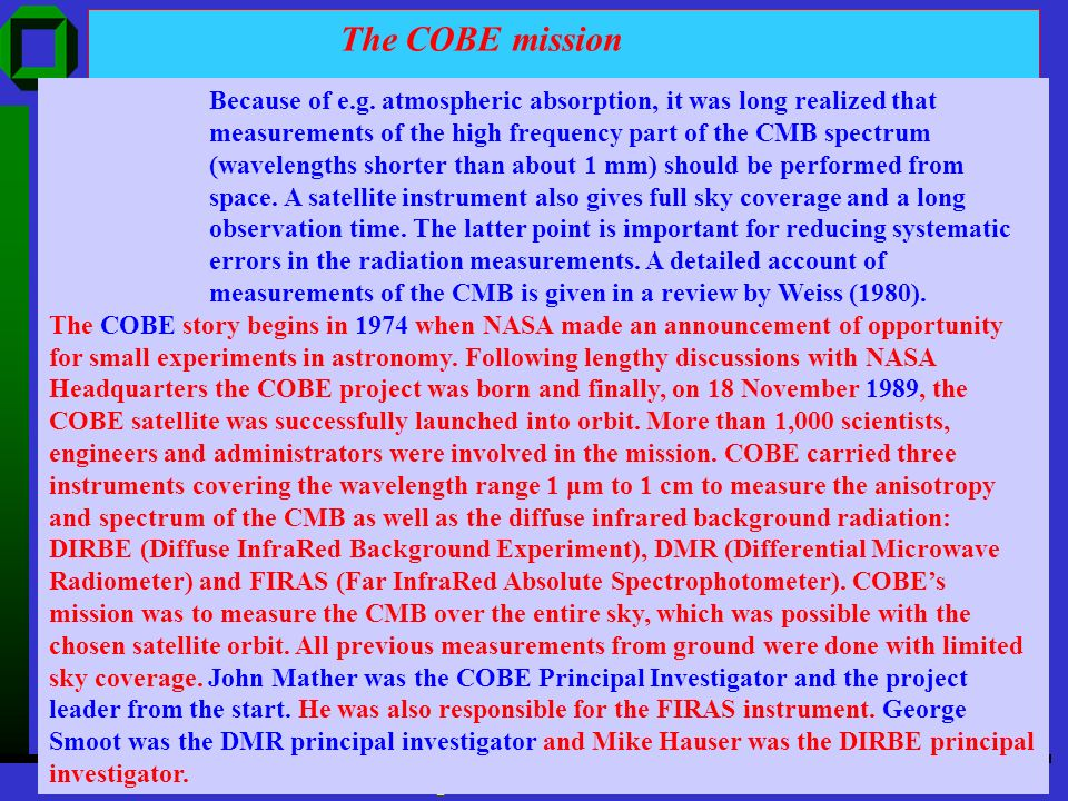 The COBE mission