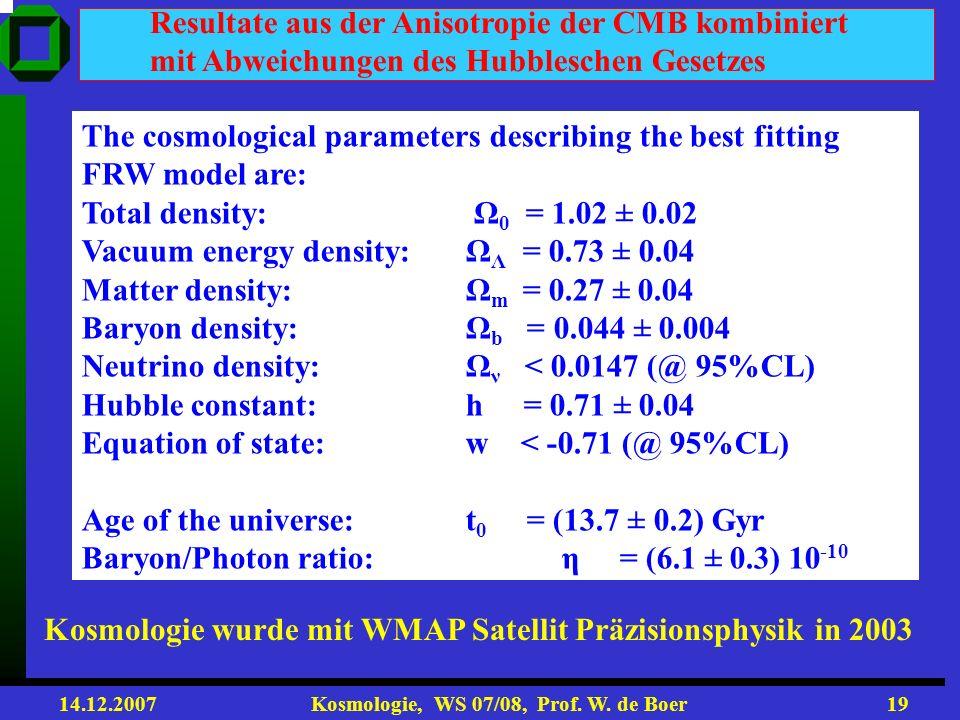 Resultate aus der Anisotropie der CMB kombiniert