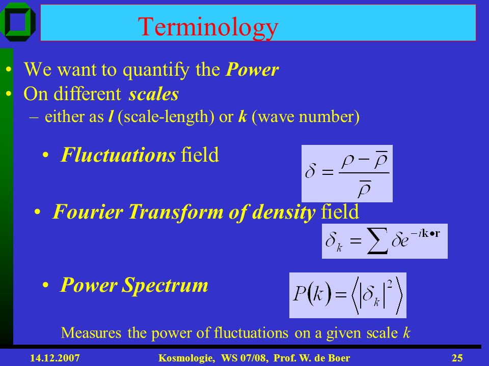 Terminology Fluctuations field Fourier Transform of density field