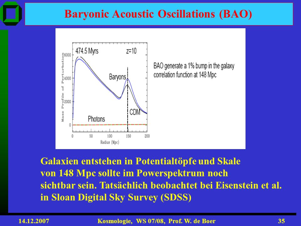 Baryonic Acoustic Oscillations (BAO)
