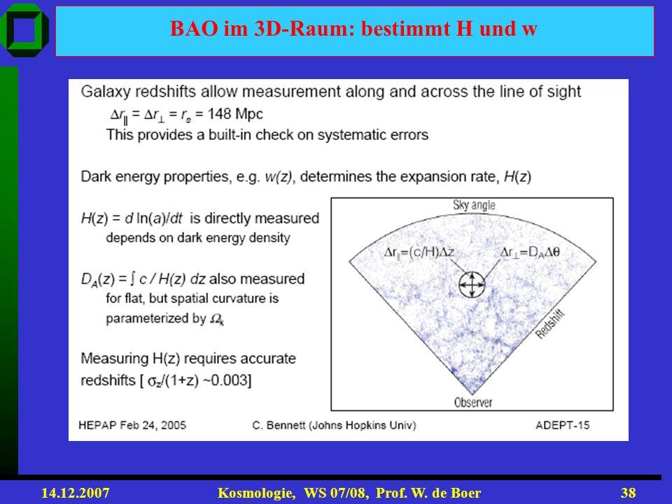 BAO im 3D-Raum: bestimmt H und w
