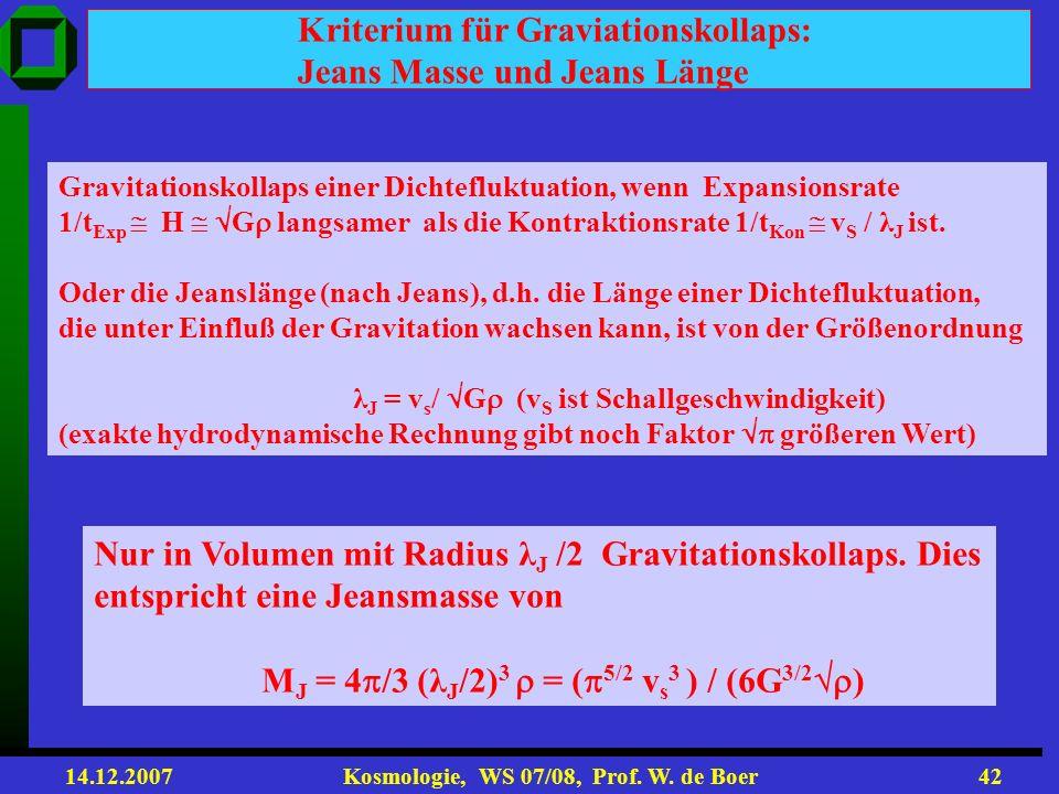 Kriterium für Graviationskollaps: Jeans Masse und Jeans Länge
