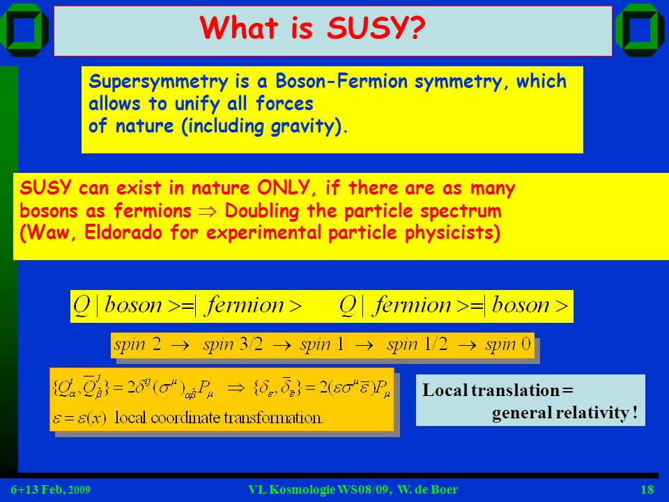 What is SUSY Supersymmetry is a Boson-Fermion symmetry, which allows to unify all forces. of nature (including gravity).