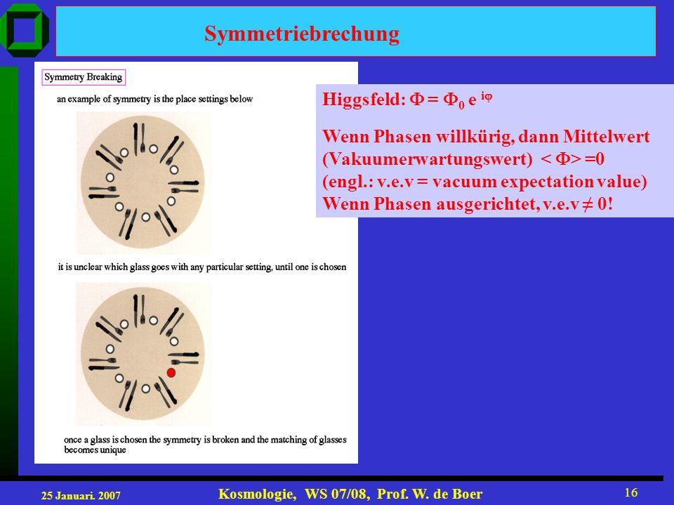 Symmetriebrechung Higgsfeld:  = 0 e i