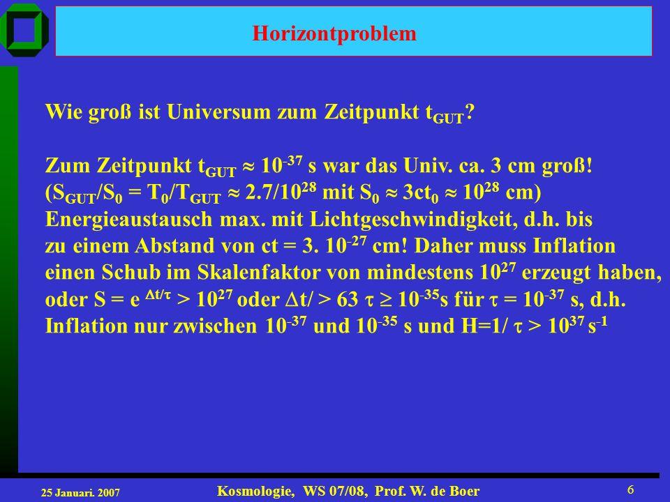 Horizontproblem Wie groß ist Universum zum Zeitpunkt tGUT Zum Zeitpunkt tGUT  10-37 s war das Univ. ca. 3 cm groß!