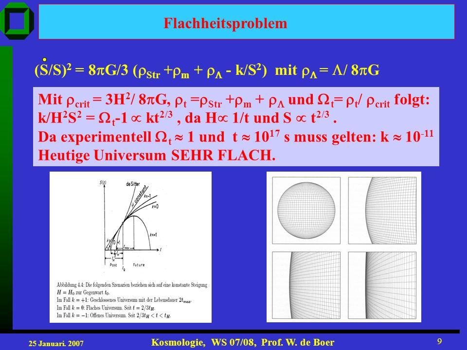 Flachheitsproblem (S/S)2 = 8G/3 (Str +m +  - k/S2) mit  = / 8G. Mit crit = 3H2/ 8G, t =Str +m +  und t= t/ crit folgt: