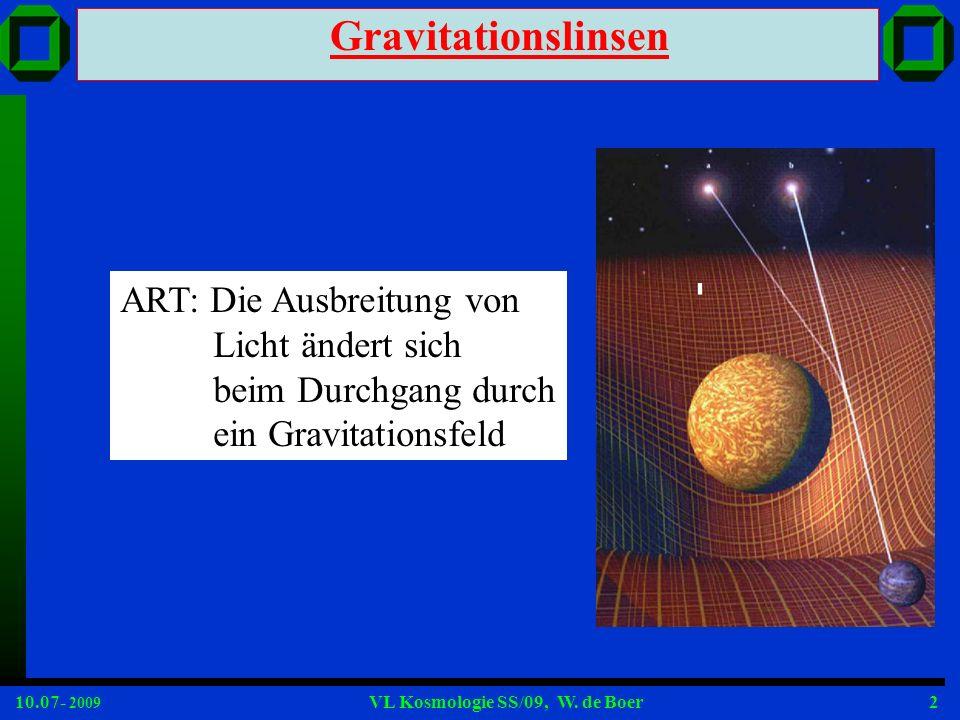 Gravitationslinsen ART: Die Ausbreitung von Licht ändert sich