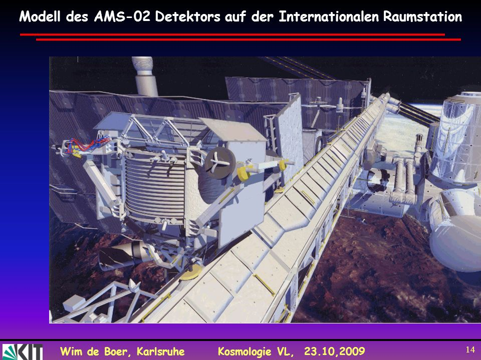 Modell des AMS-02 Detektors auf der Internationalen Raumstation