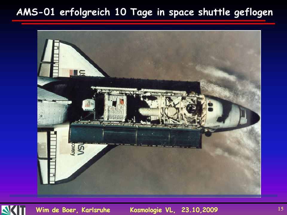 AMS-01 erfolgreich 10 Tage in space shuttle geflogen