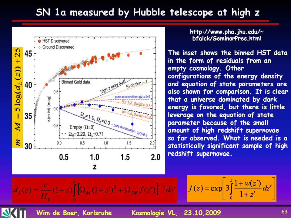 SN 1a measured by Hubble telescope at high z