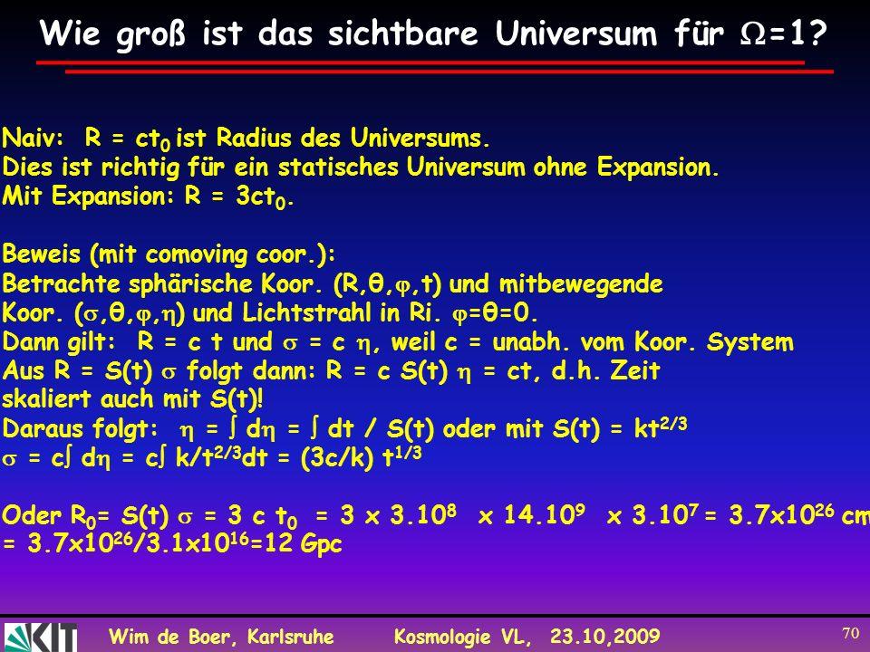 Wie groß ist das sichtbare Universum für =1