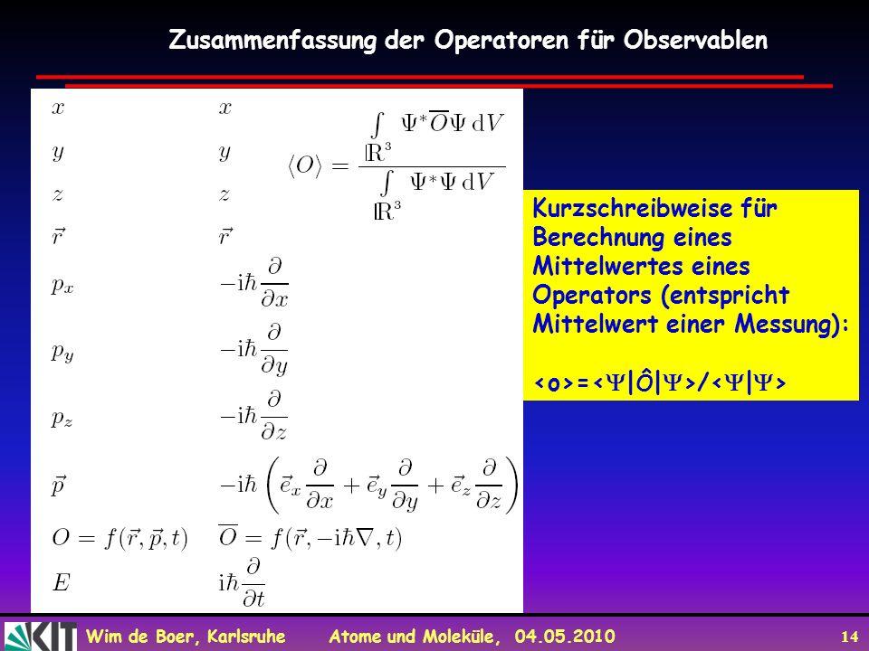 Zusammenfassung der Operatoren für Observablen