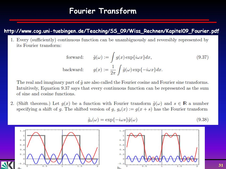 Fourier Transform http://www.cog.uni-tuebingen.de/Teaching/SS_09/Wiss_Rechnen/Kapitel09_Fourier.pdf