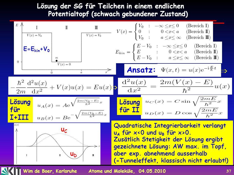 Ansatz: Lösung der SG für Teilchen in einem endlichen