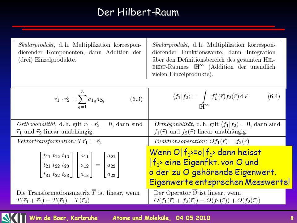 Der Hilbert-Raum Wenn O|f1>=o|f1> dann heisst