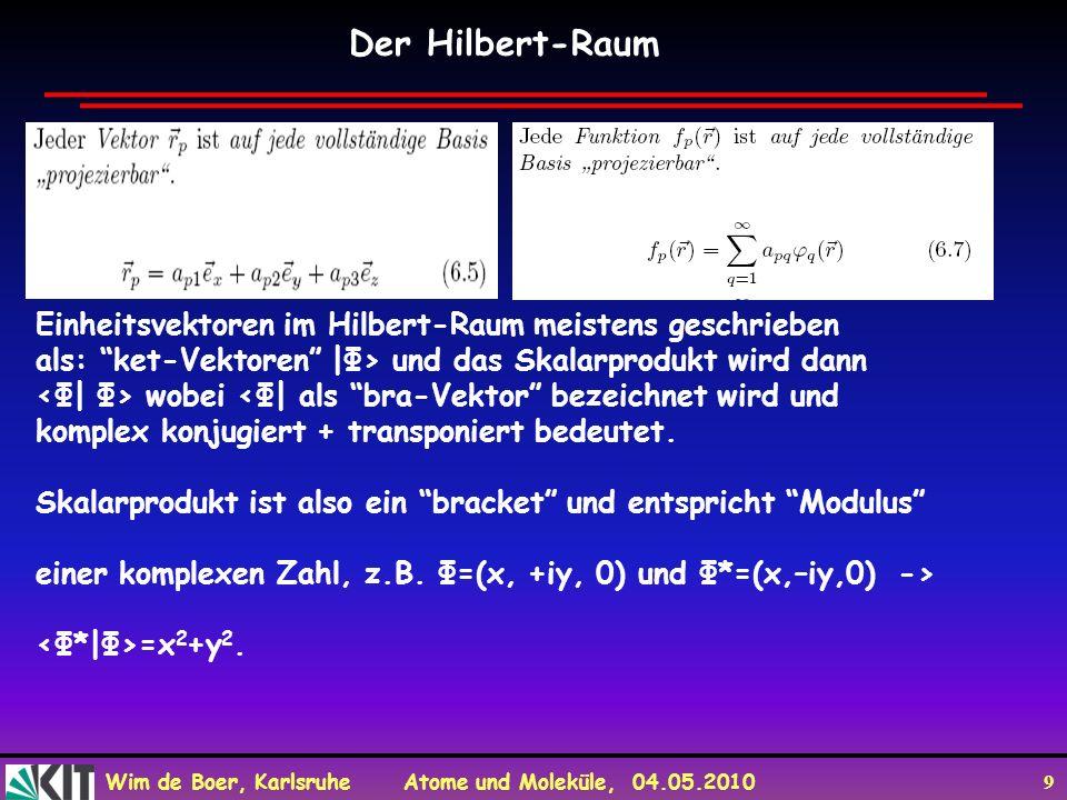 Der Hilbert-Raum Einheitsvektoren im Hilbert-Raum meistens geschrieben
