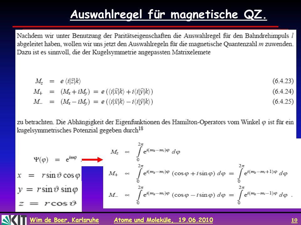 Auswahlregel für magnetische QZ.