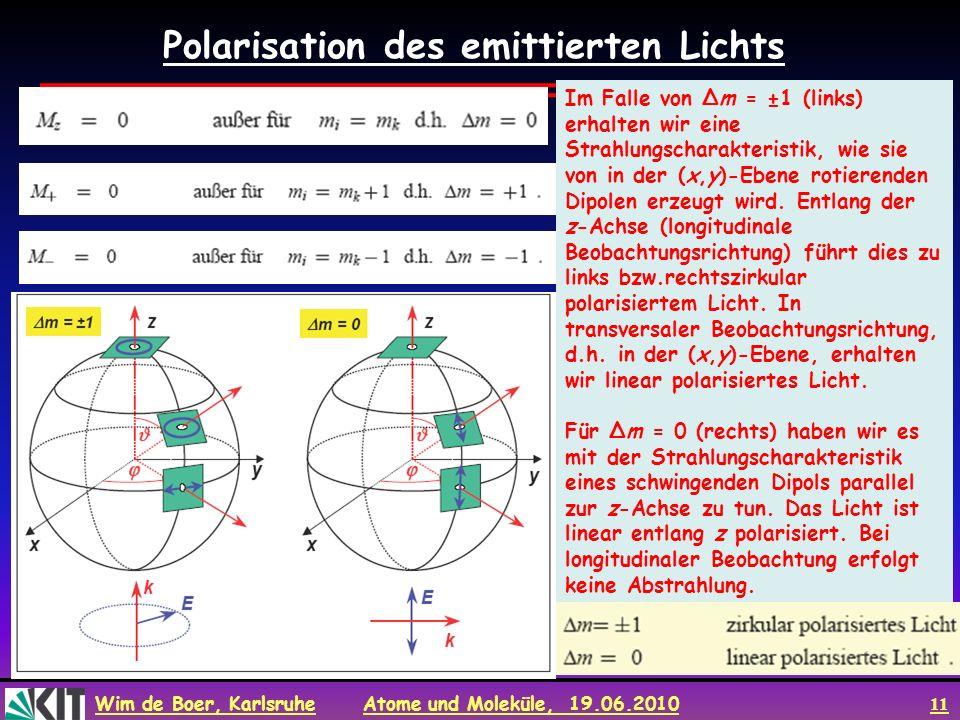 Polarisation des emittierten Lichts