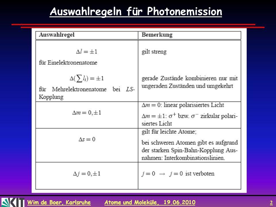 Auswahlregeln für Photonemission