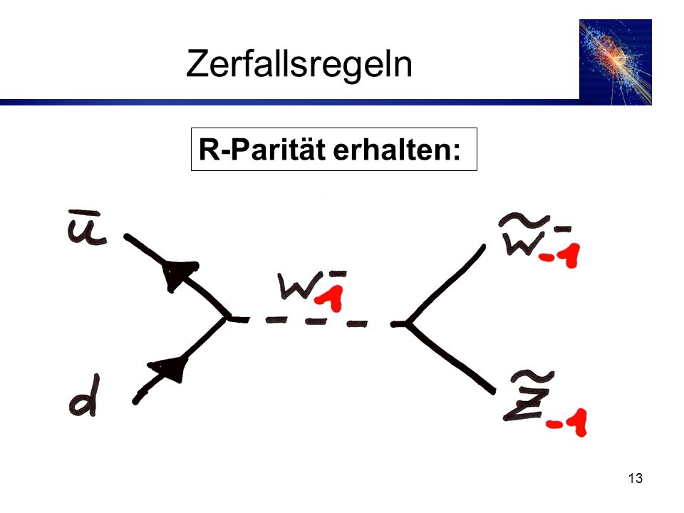 Zerfallsregeln R-Parität erhalten: