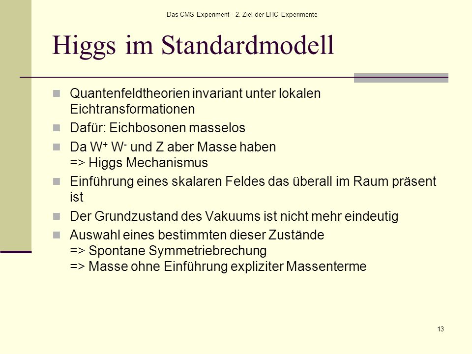 Higgs im Standardmodell