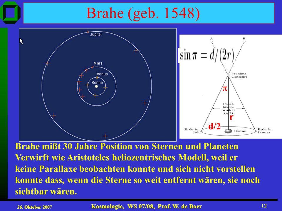 Brahe (geb. 1548)  r. d/2. Brahe mißt 30 Jahre Position von Sternen und Planeten. Verwirft wie Aristoteles heliozentrisches Modell, weil er.