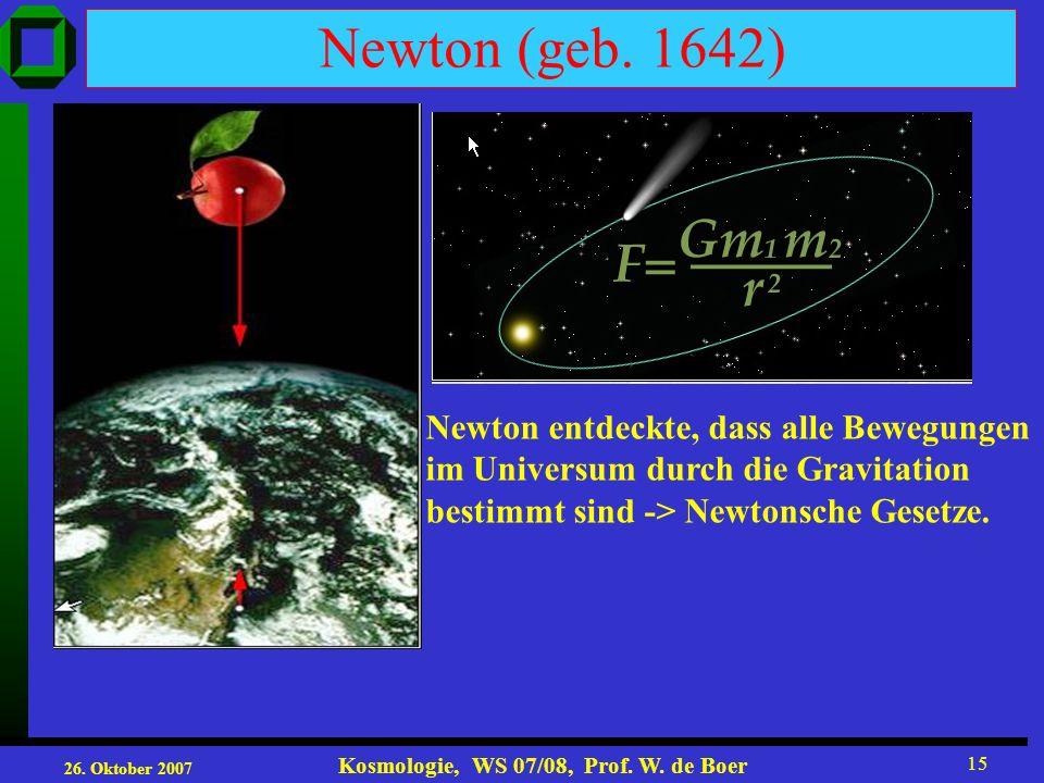 Newton (geb. 1642) Newton entdeckte, dass alle Bewegungen