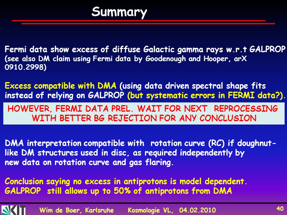 Summary Fermi data show excess of diffuse Galactic gamma rays w.r.t GALPROP.