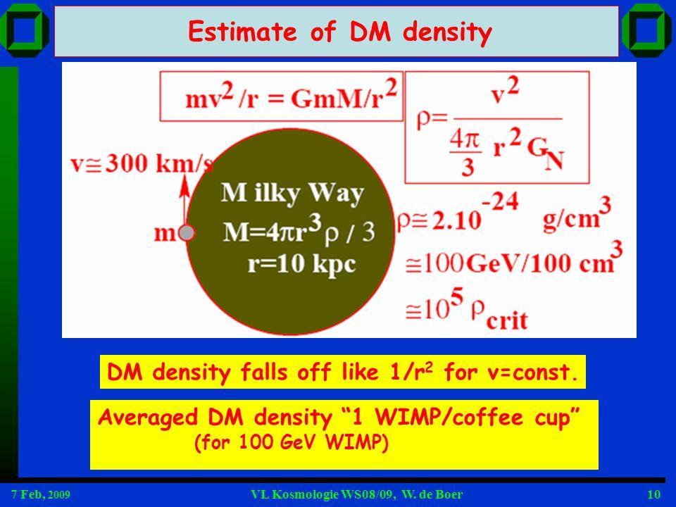 Estimate of DM density DM density falls off like 1/r2 for v=const.