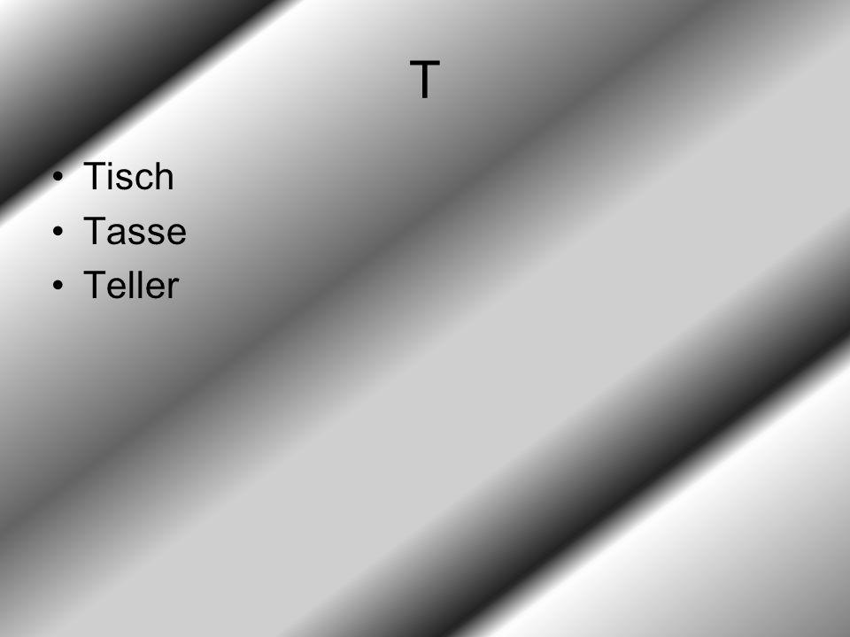 T Tisch Tasse Teller