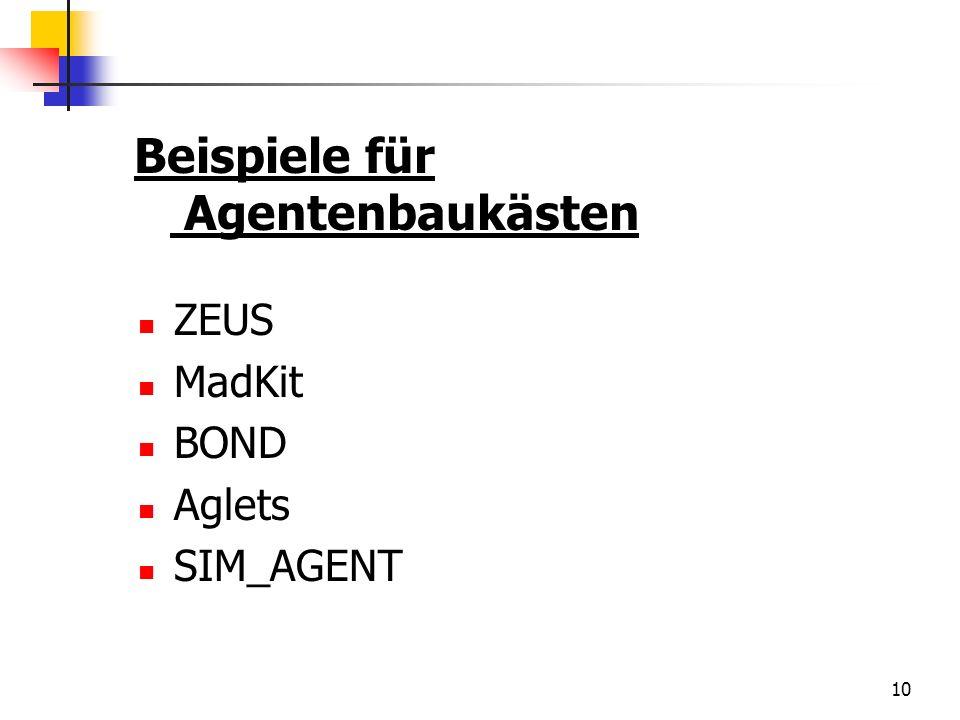 Beispiele für Agentenbaukästen