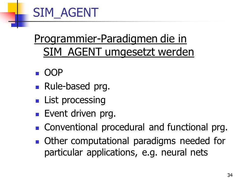 SIM_AGENT Programmier-Paradigmen die in SIM_AGENT umgesetzt werden OOP