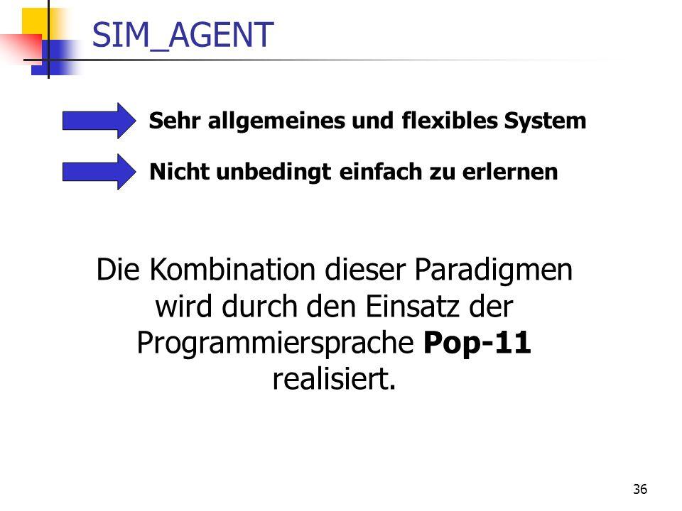 SIM_AGENT Sehr allgemeines und flexibles System. Nicht unbedingt einfach zu erlernen.
