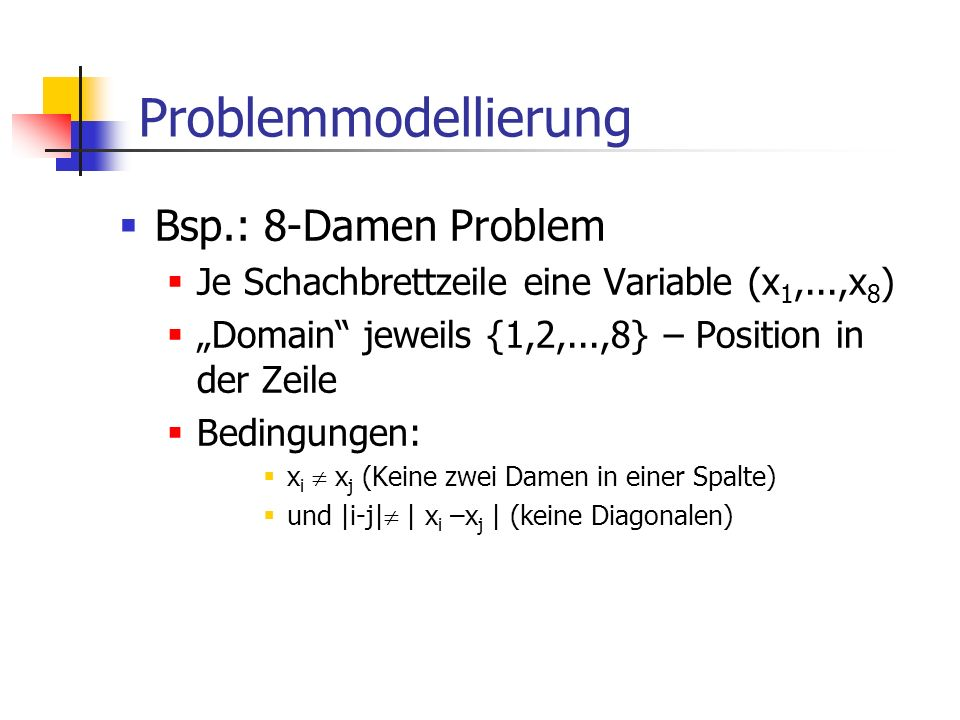 Problemmodellierung Bsp.: 8-Damen Problem