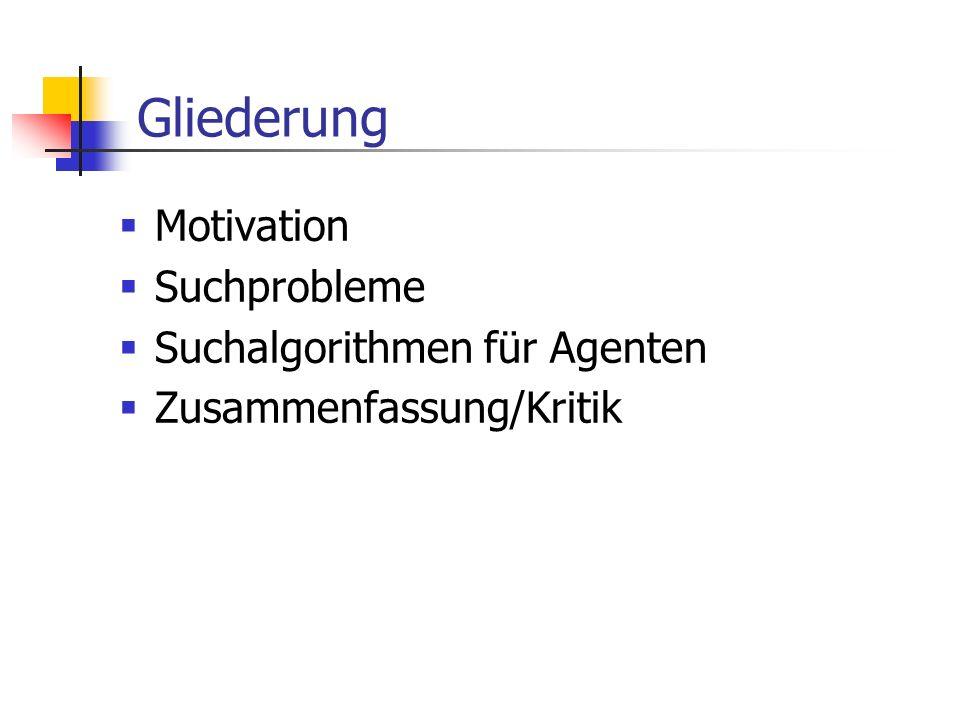 Gliederung Motivation Suchprobleme Suchalgorithmen für Agenten