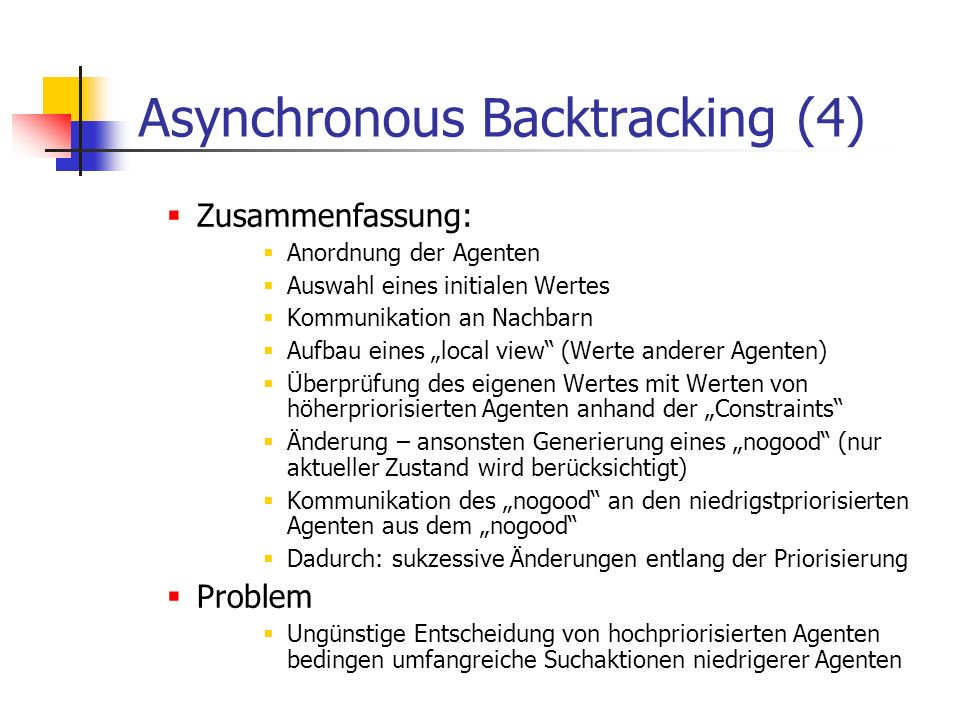 Asynchronous Backtracking (4)