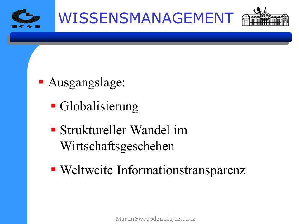 WISSENSMANAGEMENT Ausgangslage: Globalisierung