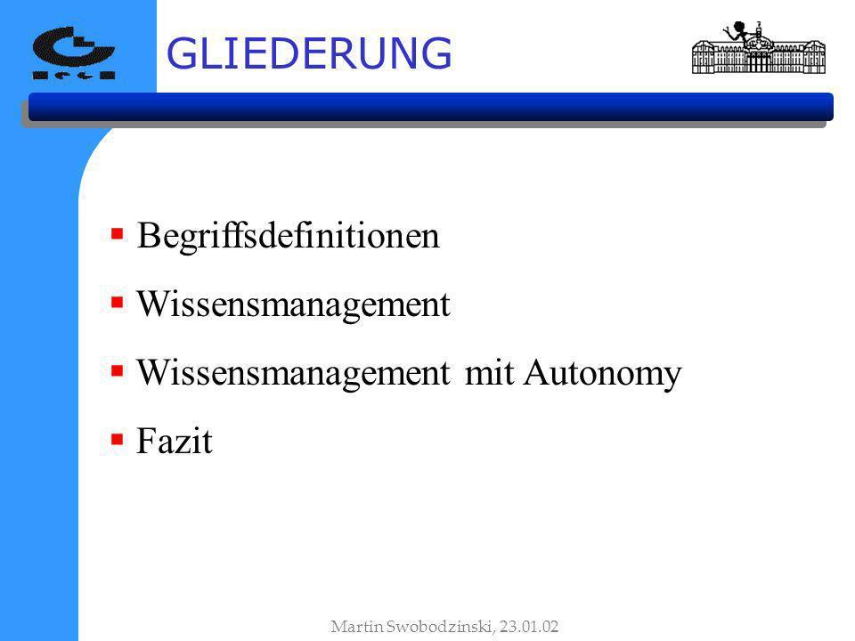 GLIEDERUNG Begriffsdefinitionen Wissensmanagement