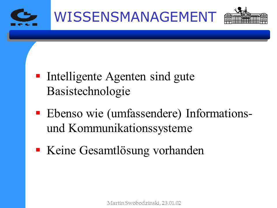 WISSENSMANAGEMENT Intelligente Agenten sind gute Basistechnologie